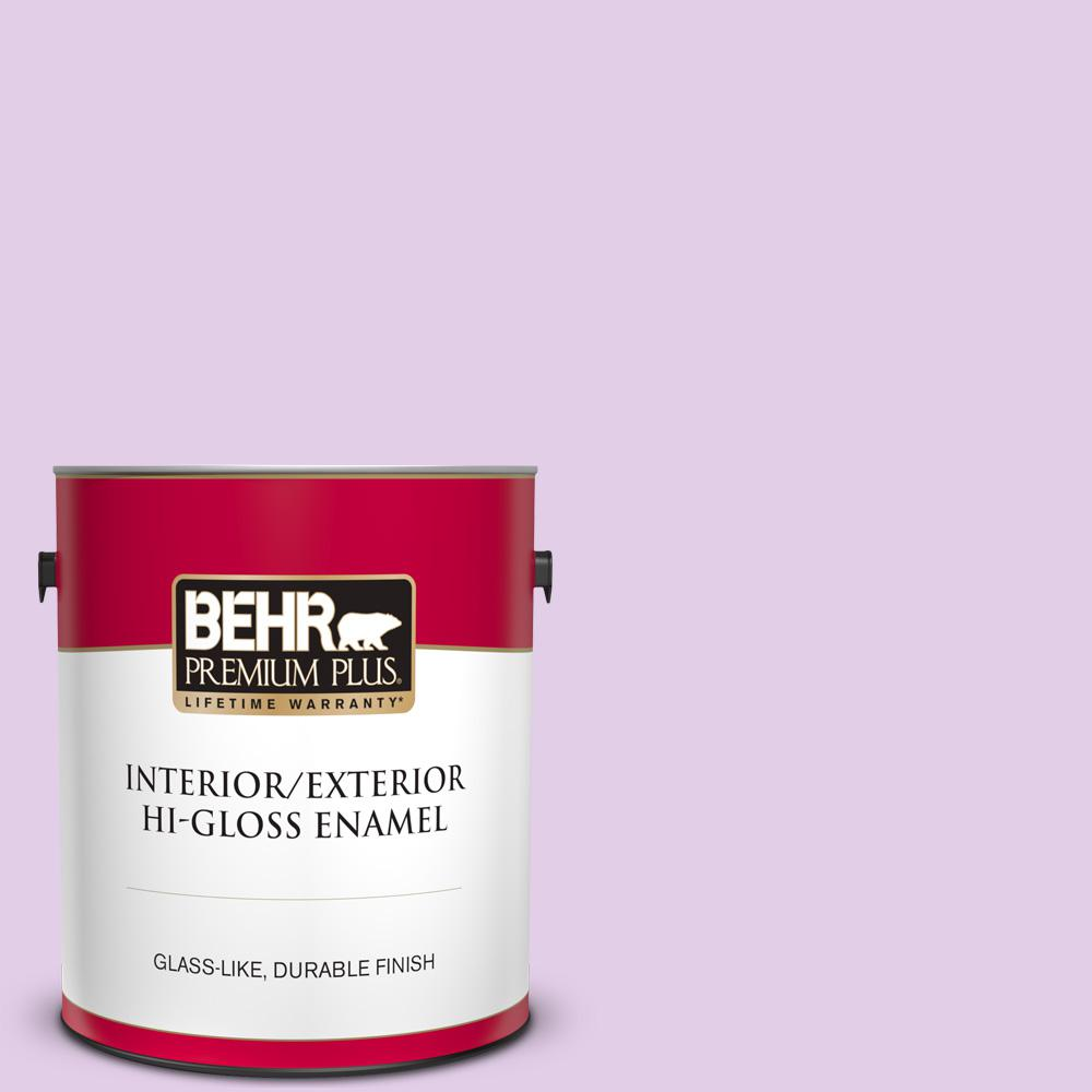 Behr Premium Plus 1 Gal P100 2 Sweet Romance Hi Gloss Enamel Interior Exterior Paint 805001 The Home Depot