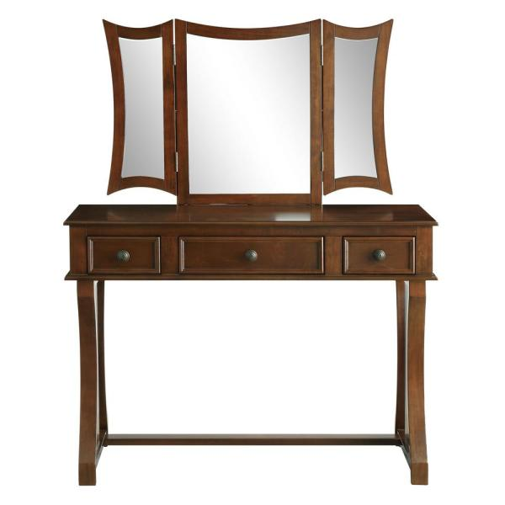 Acme Furniture Popidia 2-Piece Tan Velvet and Cherry Vanity Set