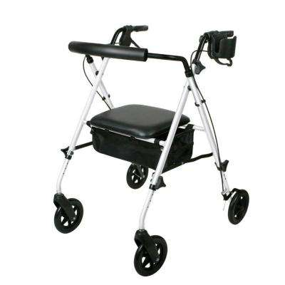 Luxe Lightweight Folding Comfort 4-Wheel Rollator in White