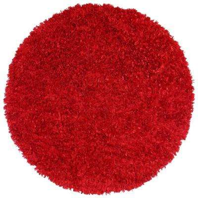 Red Shag 3 ft. x 3 ft. Round Area Rug