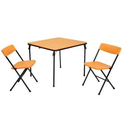 3 Piece Orange Folding Table And Chair Set