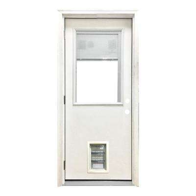 32 in. x 80 in. Classic Clear Mini-Blind RHOS White Primed Fiberglass Prehung Front Door with Med Pet Door