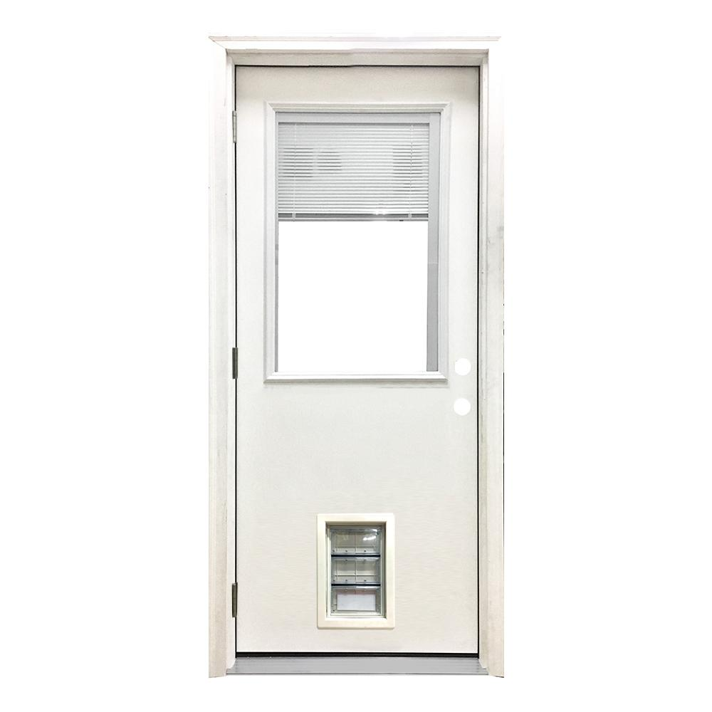 Steves Sons 32 In X 80 In Classic Mini Blind Rhos White Primed Textured Fiberglass Prehung