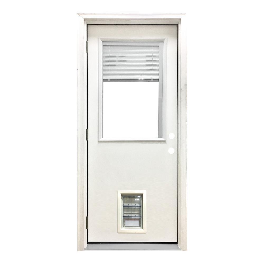 32 in. x 80 in. Classic Mini-Blind RHOS White Primed Textured Fiberglass Prehung Front Door with Med Pet Door