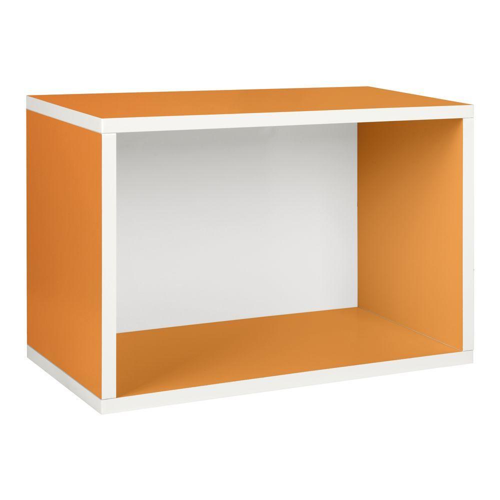 Way Basics Blox System Large Rectangle zBoard Paperboard Stackable Shelf, Shoe Storage Rack in Orange