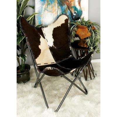 Western Brown and White Leather Metal Chair