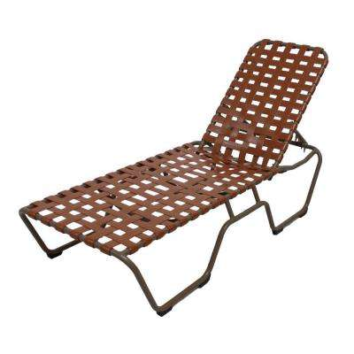 Marco Island Brownstone Commercial Grade Aluminum Patio Chaise Lounge with Saddle Vinyl Cross Straps (2-Pack)