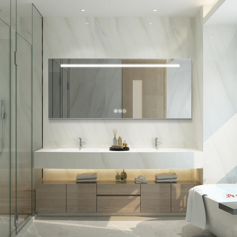Boyel Living 30 In W X 72 In H Frameless Rectangular Led Light Bathroom Vanity Mirror In Silver Kfm17230sf2 The Home Depot
