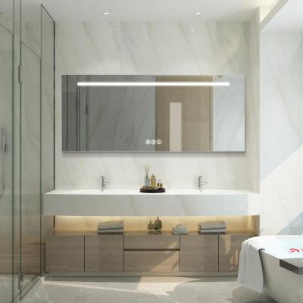 30 in. W x 72 in. H Frameless Rectangular LED Light Bathroom Vanity Mirror in Silver