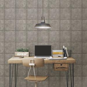 Brewster Silver Sheet Metal Rivets Wallpaper Sample by Brewster