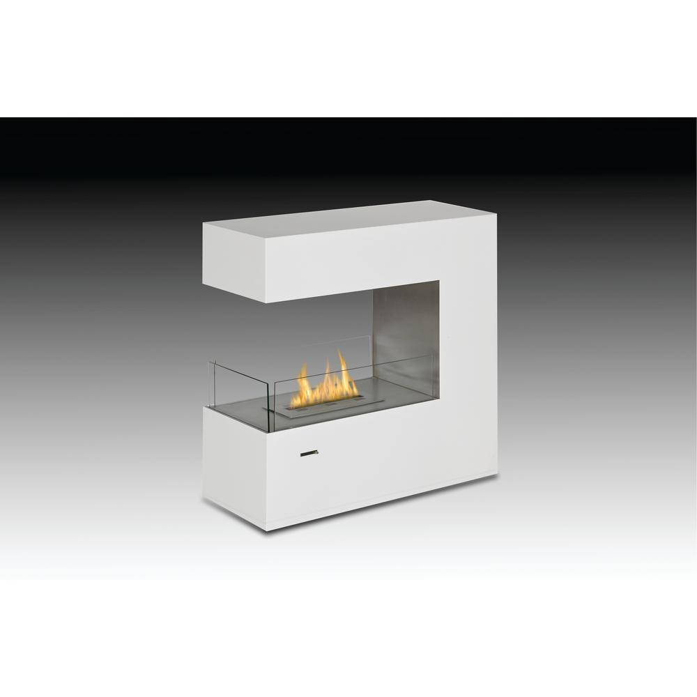 Paramount 35 in. Ethanol Free Standing Fireplace in Gloss White