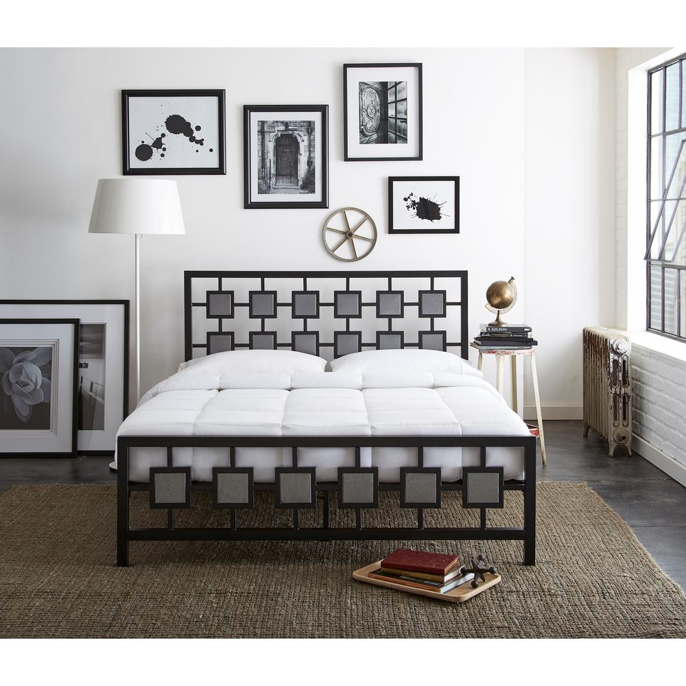 Rest Rite Sterling Black and Silver Queen Platform Bed-RR35620QN ...