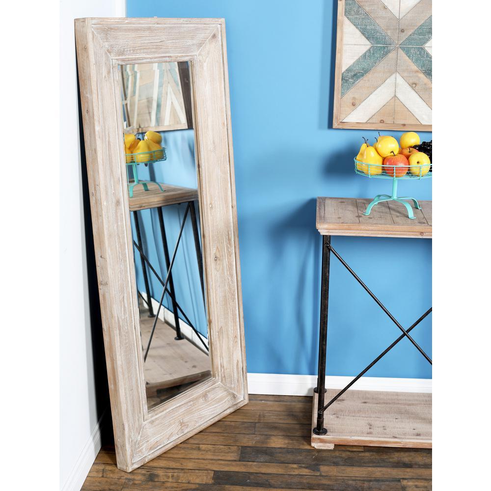 Litton Lane Rectangular Whitewashed Door Wall Mirror 77936