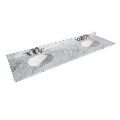 Hatton 80 in. W x 22 in. D Marble Double Basin Vanity Top in White with White Basin