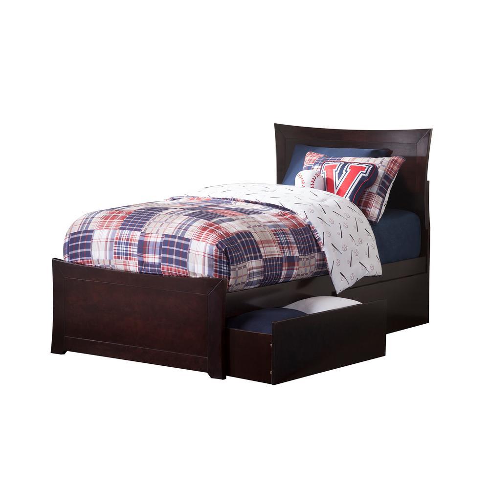 Atlantic Furniture Metro Espresso Twin Xl Platform Bed With Matching