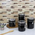 Home Basics 4-Piece Canister Set with Stainless Steel Tops