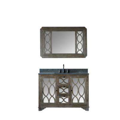 48 in. W x 22 in. D Vanity in Brushed Natural with moon stone Vanity Top in Black with White Basin and Mirror
