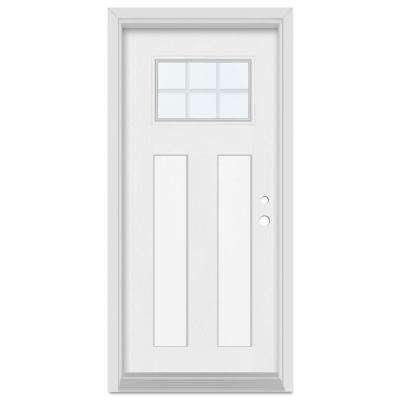 36 in. x 80 in. Infinity Left-Hand Craftsman Finished Fiberglass Mahogany Woodgrain Prehung Front Door Brickmould