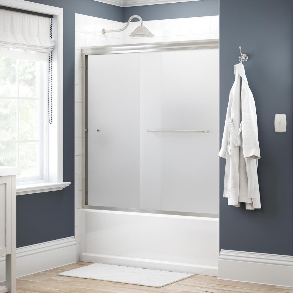 Simplicity 60 in. x 58-1/8 in. Semi-Frameless Traditional Sliding Bathtub Door in Nickel with Niebla Glass