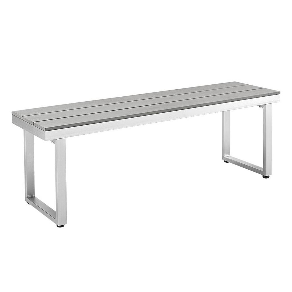 Walker Edison Furniture Company All Weather Grey Patio Dining Bench