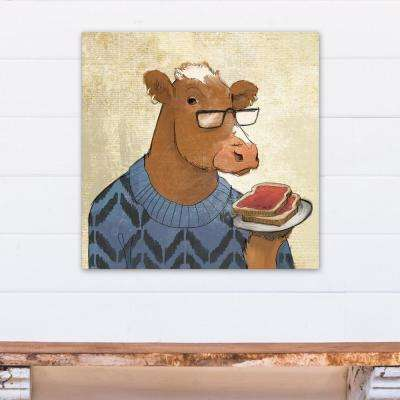 24 in. x 24 in. Breakfast Cow Eating Toast Printed Canvas Wall Art
