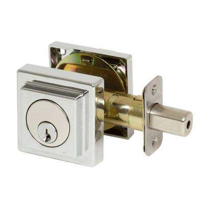Kira Square Style Single Cylinder Polished Chrome Deadbolt