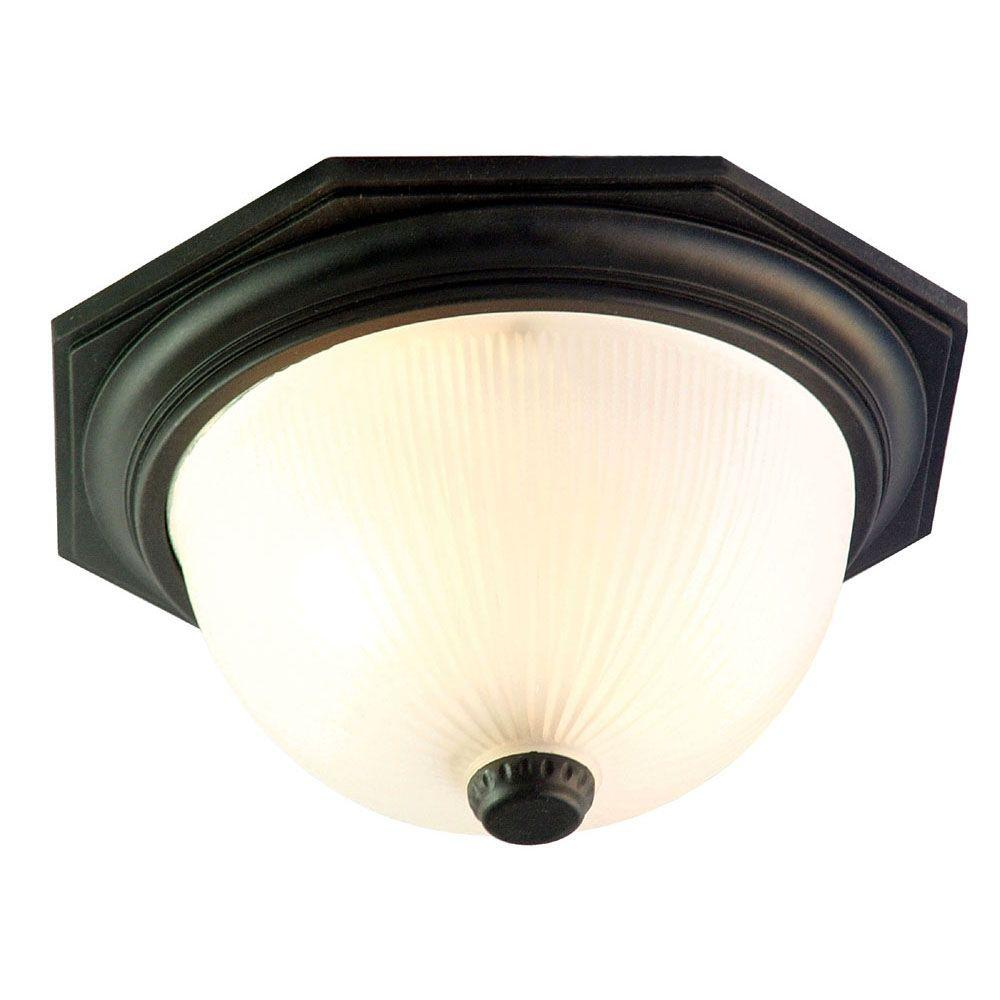 Outer Banks Collection 2-Light Matte Black Outdoor Ceiling-Mount Fixture