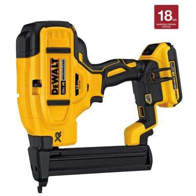 20-Volt MAX XR Lithium-Ion Cordless 18-Gauge Narrow Crown Stapler Kit with Battery 2Ah, Charger and Contractor Bag