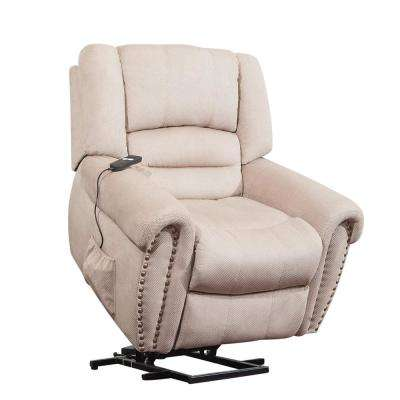 Beige Cloth Upholstery Recliner Power Lift Chair