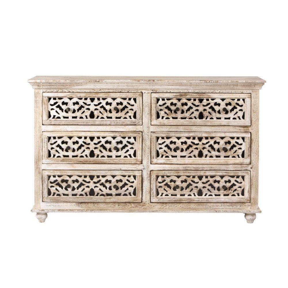 Maharaja 6-Drawer Sandblast White Dresser