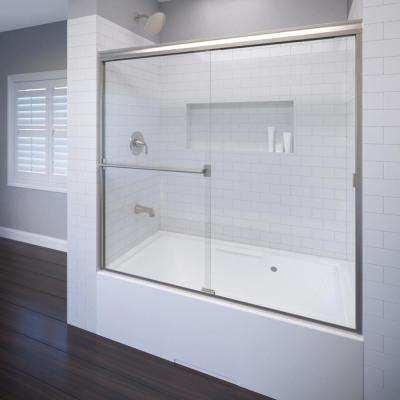 Classic 56 in. x 56 in. Semi-Framed Sliding Tub Door in Brushed Nickel