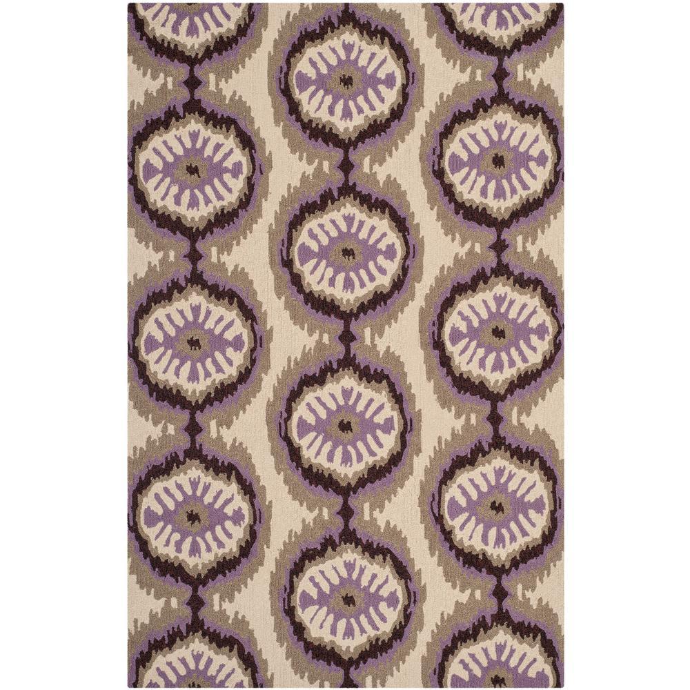 Four Seasons Beige/Purple 3 ft. 6 in. x 5 ft. 6