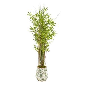 64 in. Grass Artificial Bamboo Plant in Floral Print Planter