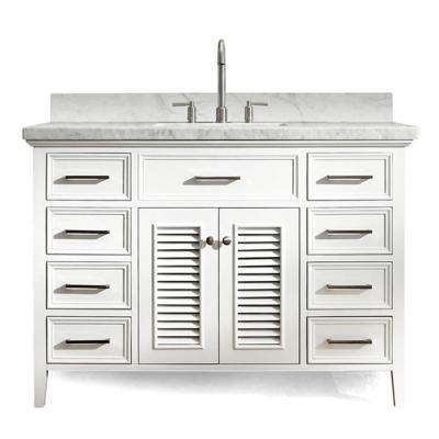 Kensington 49 in. Vanity in White with Marble Vanity Top in Carrara White with White Basin