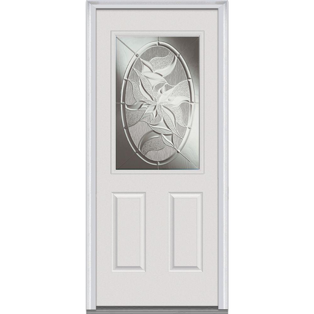 MMI Door 34 in. x 80 in. Lasting Impressions Left Hand 1/2 Lite 2 ...