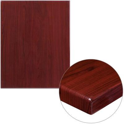 24 in. x 30 in. High-Gloss Mahogany Resin Table Top with 2 in. Thick Drop-Lip