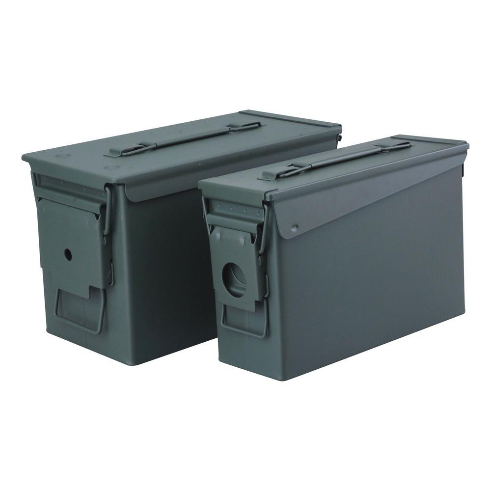 0.30 and 0.50 Cal Steel Metal Ammo Storage Box Set with
