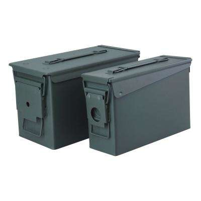 0.30 and 0.50 Cal Steel Metal Ammo Storage Box Set with Airtight and Water Resistant Seals (2-Pack)