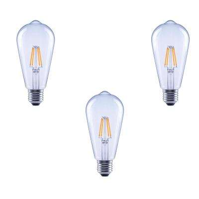 40-Watt Equivalent ST19 Clear Glass Filament Dimmable LED Light Bulb Soft White (3-Pack)