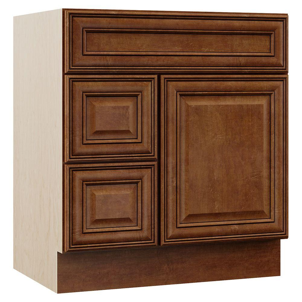 MasterBath MasterBath Oxford 30 in. W x 21.5 in. D x 33.5 in. H Bath Vanity Cabinet Only with Drawers on Left in Toasted Almond