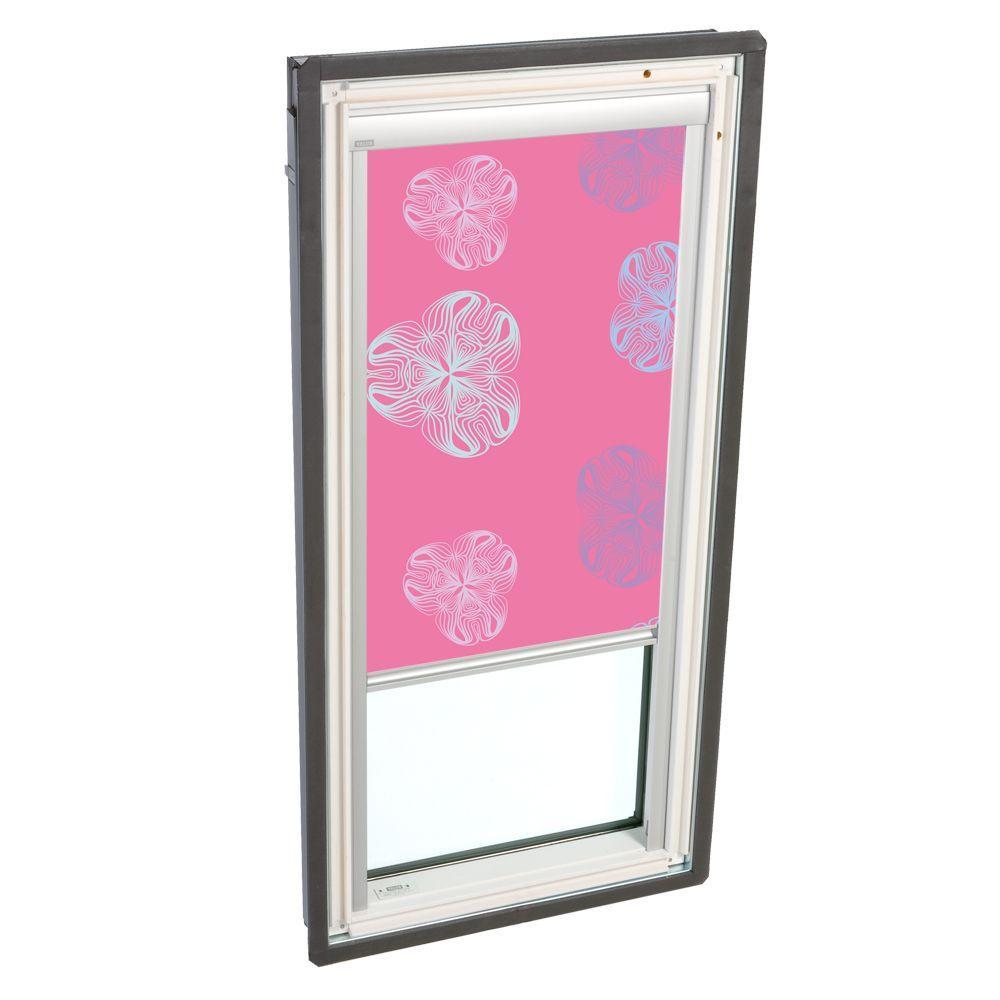VELUX Truss Series 22-1/2 x 45-3/4 in. Fixed Deck-Mounted Skylight with  LowE3 Glass Pink Solar Blackout Blinds-DISCONTINUED