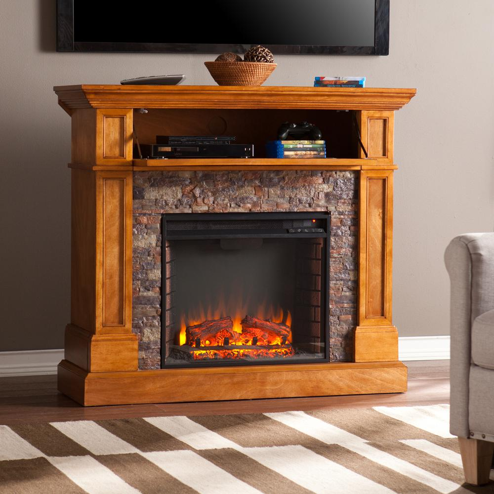 Bridgewater 45.5 in W Stone Look Convertible Electric Media Fireplace in