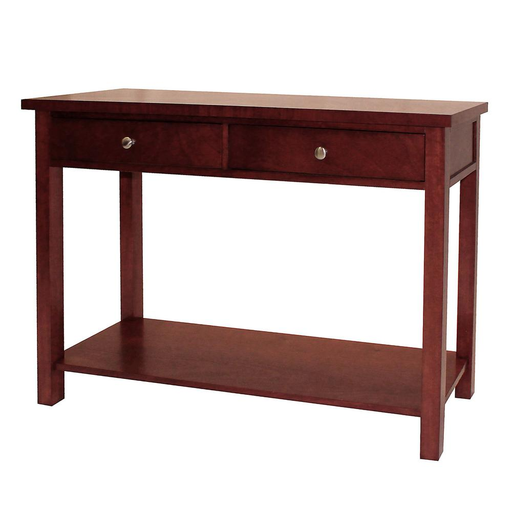 DonnieAnn Oakdale Cherry Storage Console Table-604731 - The Home Depot