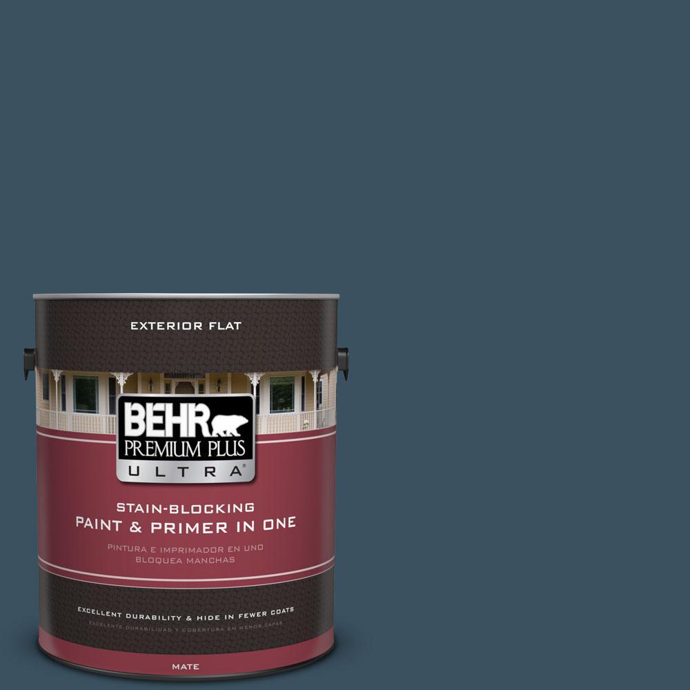 BEHR Premium Plus Ultra 1-gal. #PPU13-20 Restless Sea Flat Exterior Paint
