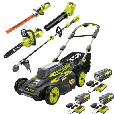 RYOBI 40 Volt. Lithium-Ion Ultimate Mower/Blower/Chainsaw/Hedge/String Trimmer Kit (5-Tool) 3 Batteries and Chargers Included
