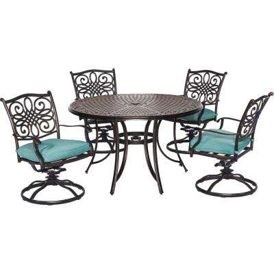 Traditions 5-Piece Aluminum Round Outdoor Dining Set with Swivel Chairs, Protective Cover and Blue Cushions