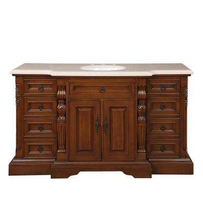 60 in. W x 22 in. D Vanity in English Chestnut with Marble Vanity Top in Crema Marfil with White Basin