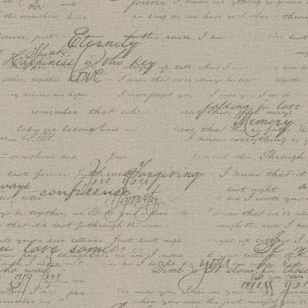 56.4 sq. ft. Nouvel Taupe Script Wallpaper