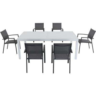 Palermo 7-Piece Aluminum Outdoor Dining Set with 6-Sling Chairs in Gray and a 40 in. x 118 in. Expandable Dining Table