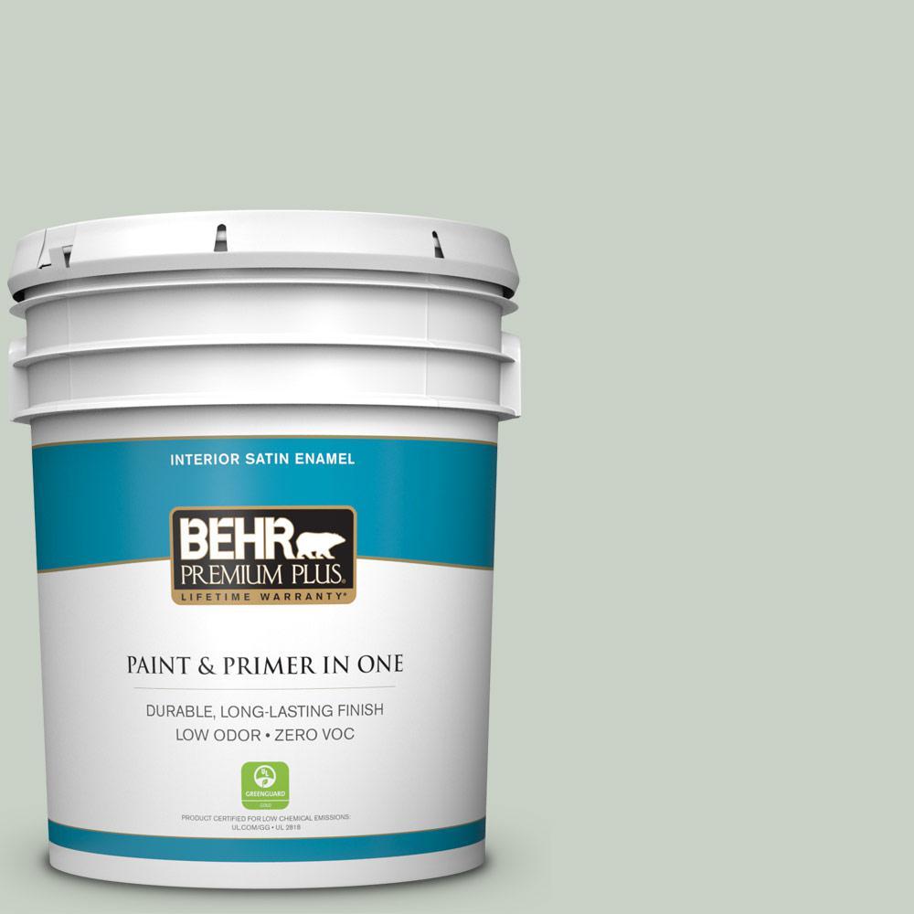 5 gal. #PPU11-12 Mild Mint Zero VOC Satin Enamel Interior Paint